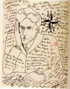 Self-portrait by Jean Cocteau in a letter to Paul Valéry 1924