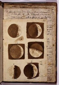 Sketches of the moon from - Sidereus Nuncius-. Galileo